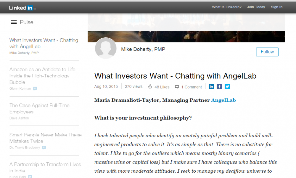 In the Press: What Investors Want – Chatting with AngelLab by Mike Doherty