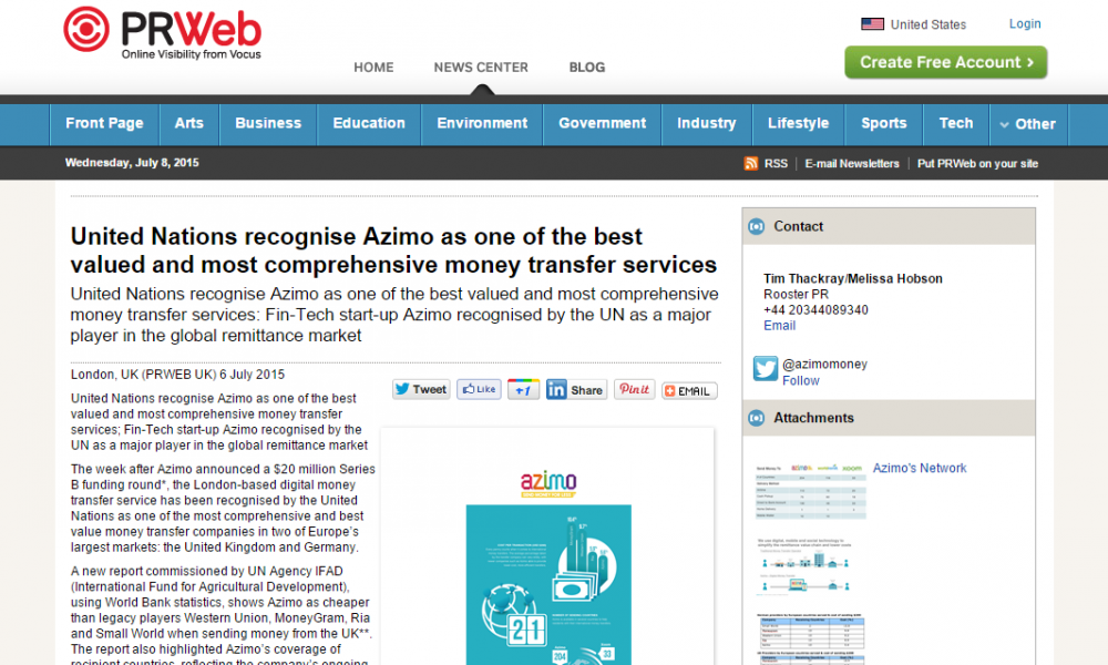 United Nations recognise Azimo as one of the best valued and most comprehensive money transfer services